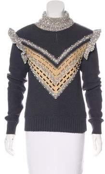 Cacharel Velvet-Accented Turtleneck Sweater