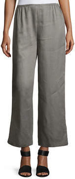 Caroline Rose Tissue Linen Wide-Leg Pants, Petite