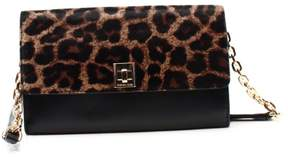 Michael Kors Black Printed Haircalf Wallet On A Chain Leather Purse - BLACKS - STYLE