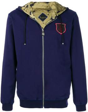 Billionaire chest patch zipped hoodie
