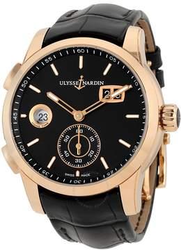 Ulysse Nardin Dual Time Black Dial 18kt Rose Gold Men's Watch 3346-126-92