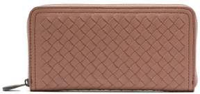 Bottega Veneta Intrecciato Continental Leather Wallet - Womens - Dark Pink