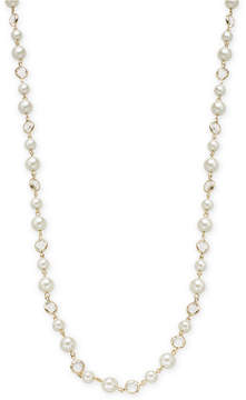 Charter Club Gold-Tone Crystal & Imitation Pearl Strand Necklace, 42 + 2 extender, Created for Macy's