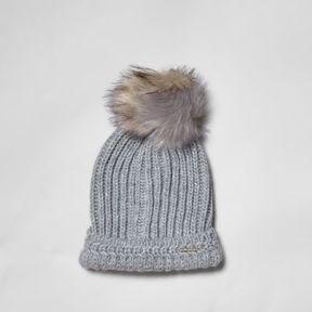 River Island Womens Grey split color faux fur bobble beanie hat