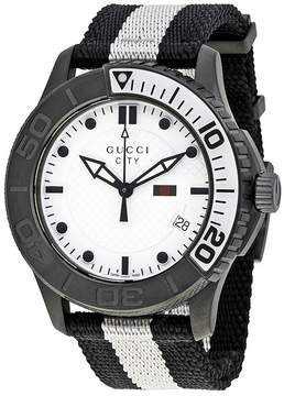Gucci G-Timeless XL White Dial Black and White Nylon Men's Watch