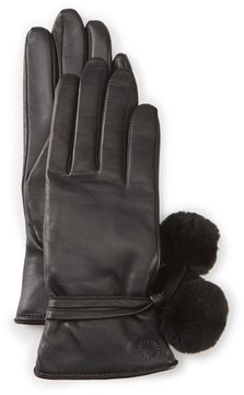 UGG Brita Leather Tech Gloves with Shearling Poms