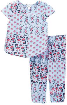 Splendid Allover Print Cross Back Top Set (Baby Girls)