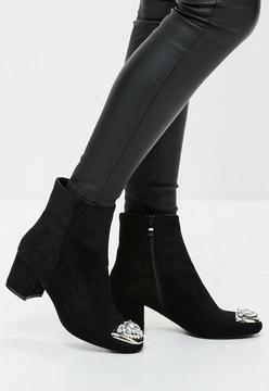Missguided Black Embellished Toe Ankle Boots