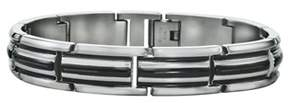 Armani Exchange Jewelry Mens Double Stripped Bracelet In Stainless Steel