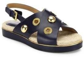 Michael Kors Hallie Studded Leather Crisscross Slingback Sandals