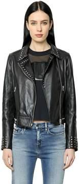 Calvin Klein Jeans Studded Leather Biker Jacket