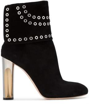 Alexander McQueen Black Suede fold over eyelet 110 boots