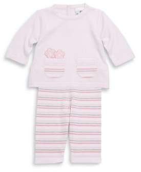 Florence Eiseman Baby's Two-Piece Cotton Embroidered Top & Striped Pants Set