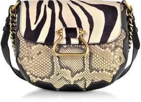 Roberto Cavalli Black/Alabaster Zebra Pony Hair and Gold Python Medium Shoulder Bag