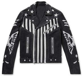 Balmain Embellished Nubuck Biker Jacket