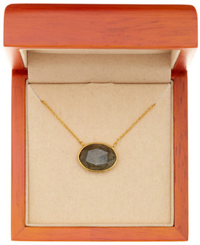 Argentovivo 18K Gold Plated Sterling Silver Semi-Precious Labradorite Stone Necklace