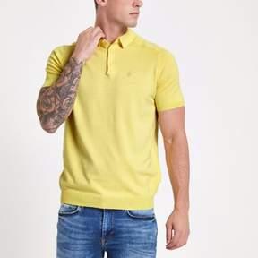 River Island Mens Yellow slim fit wasp knit polo shirt