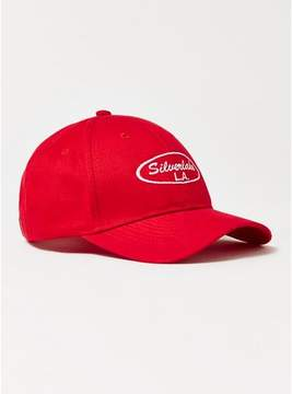 Topman Mens Red 'Silver Lake' Curve Peak Cap