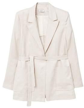 MANGO Belt linen blazer
