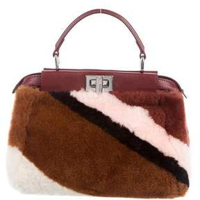 Fendi Mini Peekaboo Montone Liscio Intarsio 2 Ways Bag