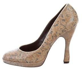 Rochas Embossed Round-Toe Pumps