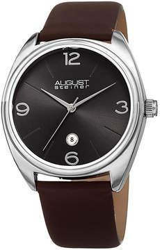 August Steiner Mens Brown Strap Watch-As-8231ssbr