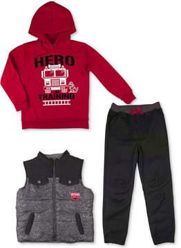 Nannette 3-Pc. Hoodie, Vest & Pants Set, Little Boys (4-7)