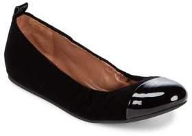 ED Ellen Degeneres Textile and Leather Cap Toe Ballet Flats
