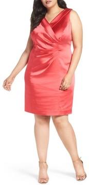 Tahari Plus Size Women's Collared Faux Wrap Dress