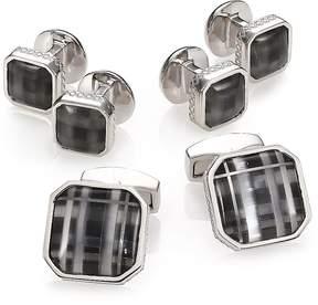 Tateossian Men's Fog Black Glass Rhodium Plated Cuff Link & Stud Set