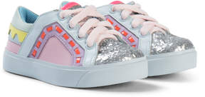 Sophia Webster Mini Pink Glitter Riko Low Top Sneaker