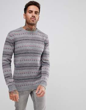 Pull&Bear Patterned Sweater In Gray
