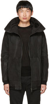 Julius Black Nubuck Hooded Jacket