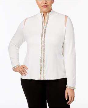 Belldini Plus Size Mesh-Inset Zip-Front Cardigan