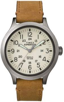 Timex Men's Expedition Scout 43 Natural Dial Watch, Tan Leather Strap