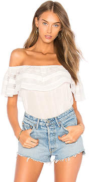 1 STATE Off Shoulder Ruffle Top With Trim