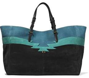 Jerome Dreyfuss Color-Block Leather-Trimmed Nubuck Tote