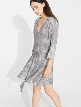 Halston Printed Flowy Dress with Ruffle Skirt