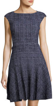 Eliza J Striated Fit-and-Flare Knit Dress