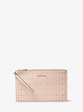 Michael Kors Jet Set Travel Extra-Large Perforated-Leather Clutch - PINK - STYLE