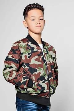 boohoo Boys Camo Bomber Jacket