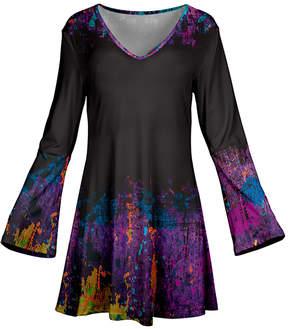 Azalea Purple & Black Abstract Flare-Sleeve Tunic - Plus