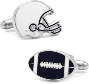 Co Ox and Bull Trading Varsity Football Navy And White Cufflinks.