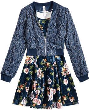 Beautees 2-Pc. Lace Bomber Jacket & Floral Dress Set, Big Girls (7-16)