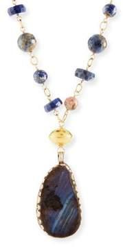 Devon Leigh Long Lapis Opal Pendant Necklace