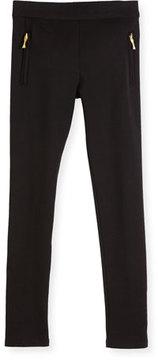 Kate Spade Zip-Trim Ponte Leggings, Black, Size 2-6