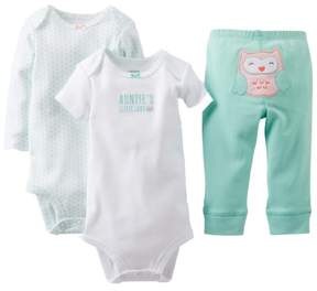 Carter's Infant Girls Owl Baby Outfit 3 Piece Aunties Little Lady Shirt Bodysuit & Pants