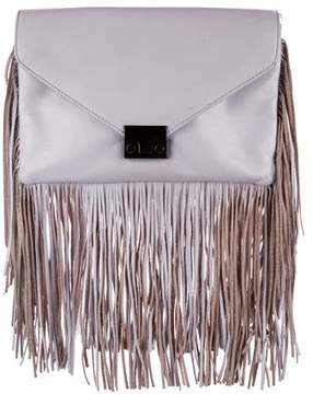 Loeffler Randall Fringe Lock Leather Clutch