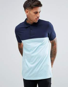 Pull&Bear Short Sleeve Polo With Color Block In Blue