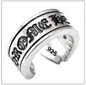Chrome Hearts 925 Sterling Silver Scroll Label Ring Size 7